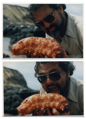 Expedition Leader Robert Schmieder is darned hungry (thats a seaslug)