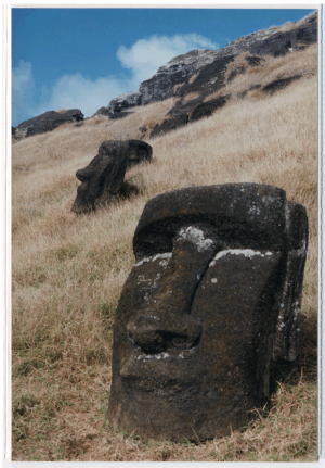 Maoi still in the ground at the quarry in Rano Raraku